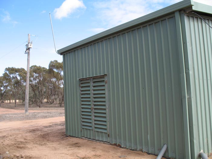 Pump shed supplied via 2 x 25KVA TXs